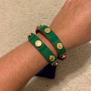 Tory Burch Double Wrap Green Patent Bracelet